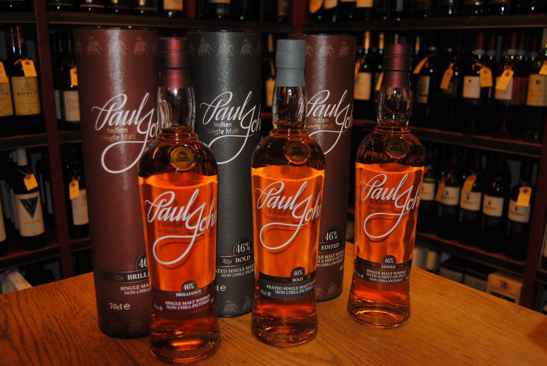 Paul John Whisky  Brilliance single malt whisky  Bold Peated single malt whisky  Edited Hint of Peat single malt whisky